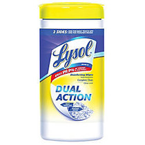 Lysol; Dual-Action Disinfecting Wipes, Citrus Scent, 7 inch; x 8 inch;, Container Of 75