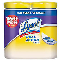 Lysol; Dual-Action Disinfecting Wipes, Citrus, 7 inch; x 8 inch;, White, 75 Wipes Per Canister, Pack Of 2 Canisters
