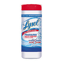 Lysol; Power & Free Multi-Purpose Cleaning Wipes, Oxygen Splash, 8 inch; x 7 inch;, White, Canister Of 35 Wipes