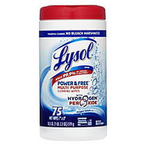 Lysol; Power & Free™ Multipurpose Disinfecting Wipes, Oxygen Splash Scent, Canister Of 75 Wipes