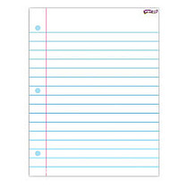 Trend Enterprises Notebook Paper Wipe-Off Charts, 22 inch; x 17 inch;, White, Pack Of 6