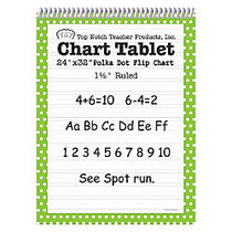Top Notch; Polka Dot Chart Tablets, 24 inch; x 32 inch;, 1 1/2 inch; Ruled, Green, Pack Of 2
