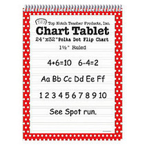 Top Notch; Polka Dot Chart Tablets, 24 inch; x 32 inch;, 1 1/2 inch; Ruled, Red, Pack Of 2