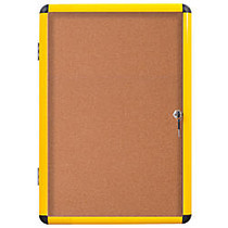 MasterVision; Enclosed Cork Board, 28 inch; x 38 1/4 inch;, Yellow, Aluminum Frame