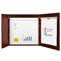 MasterVision™ Contemporary 2-Door Conference Cabinets With Platinum Pure White Dry-Erase Surface, 48 inch; x 48 inch;, Cherry