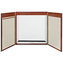 Quartet; Veneer Conference Room Cabinet, 48 inch; x 48 inch;, White Board, Mahogany Frame