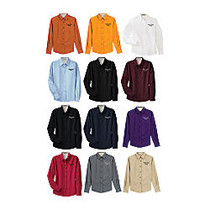 Women's Embroidered Wash & Wear Long Sleeve Dress Shirt, S-4X, Assorted Colors