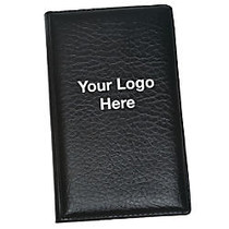 Padfolio With Sticky Notes And Flags, Faux Leather, 5 1/4 inch;H x 3 1/4 inch;W, Black