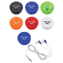 Earbuds In A Round Plastic Case
