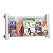 Safco; Elegant Luxe 3-Pocket Magazine Rack, 31 3/4 inch; x 5 inch; x 15 1/4 inch;, Clear/Silver