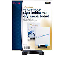 Officemate; Premium Vertical 2-Sided Dry-Erase Sign Holder, 11 inch; x 8 1/2 inch; x 3 3/4 inch;, Black/Clear