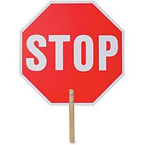 Tatco Handheld Stop Sign - 1 Each - Stop Print/Message - 18 inch; Width x 18 inch; Height - White Print/Message Color - Double-sided, Weather Proof, Long Lasting, Lightweight, Comfortable Grip - Wood - Red