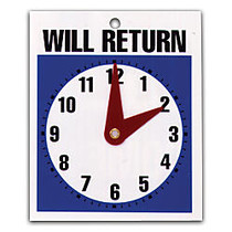 U.S. Stamp & Sign Message Sign,  inch;Will Return inch; Clock