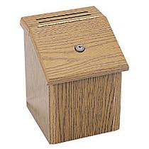 Safco; Wood Suggestion Box, 9 3/4 inch;H x 8 inch;W x 8 inch;D, Medium Oak