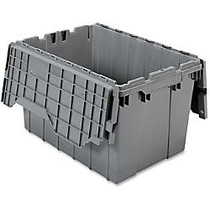 Akro-Mils Attached Lid Container - Internal Dimensions: 12 inch; Height - External Dimensions: 21.5 inch; Length x 15 inch; Width x 12.5 inch; Height - 65 lb - 12 gal - Padlock, String/Button Tie Closure - Stackable - Plastic, Polymer - Gray