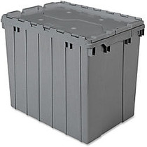 Akro-Mils Attached Lid Container - Internal Dimensions: 16.88 inch; Height - External Dimensions: 21.5 inch; Length x 15 inch; Width x 17 inch; Height - 100 lb - 17 gal - Padlock, String/Button Tie Closure - Stackable - Plastic, Polymer - Gray - For