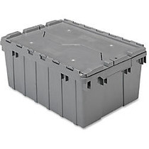 Akro-Mils Attached Lid Container - Internal Dimensions: 8.63 inch; Height - External Dimensions: 21.5 inch; Length x 15 inch; Width x 9 inch; Height - 35 lb - 8 gal - Padlock, String/Button Tie Closure - Stackable - Plastic - Gray - For File - 1 Each