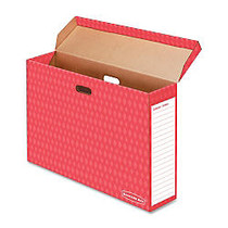 Bankers Box Bulletin Board Storage Boxes - Internal Dimensions: 18.13 inch; Width x 7.13 inch; Depth x 27.88 inch; Height - External Dimensions: 28.6 inch; Width x 7.5 inch; Depth x 19.1 inch; Height - 50 lb - Flip Top Closure - Corrugated Paper - Re