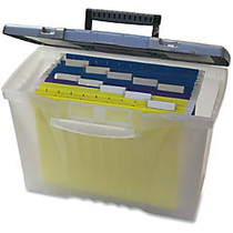 Storex Portable File Box - Internal Dimensions: 14.50 inch; Width x 10.50 inch; Depth x 12 inch; Height - External Dimensions: 14.5 inch; Width x 10.5 inch; Depth x 12 inch; Height - Media Size Supported: Letter, Legal - Latching Closure - Plastic -