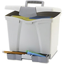 Storex Portable File Box w/ Drawer - Latch Lock Closure - Plastic - Gray - For Document, Pen/Pencil, File, Letter - Recycled - 1 / Carton