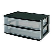 Office Wagon; Brand Storage Case, 2 Fixed Drawers, 7 inch;H x 13 5/8 inch;W x 9 3/4 inch;D, Black/Clear