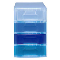 Really Useful Box; Tower Drawer, 4 Drawers, 7 Liters, 18 inch;H x 15 3/4 inch;W x 12 inch;D, Clear Blue