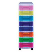Really Useful Box; Tower Drawer, 8 Drawers, 7 Liters, 36 1/2 inch;H x 15 3/4 inch;W x 12 inch;D, Clear Rainbow