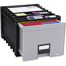 Storex Black/Gray Heavy-duty Archive Drawer - x 18 inch; Width - External Dimensions: 14.3 inch; Length x 18 inch; Width x 12.3 inch;Height - 50 lb - 13.69 gal - Media Size Supported: Letter - Heavy Duty - Stackable - Plastic - Black, Gray - For Lett