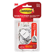 3M™ Command™ Mega Pack Utility Hooks, Small Wire, White, Pack Of 28