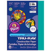 Tru-Ray; 50% Recycled Construction Paper, 9 inch; x 12 inch;, Turquoise, Pack Of 50