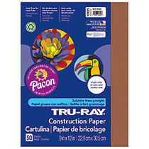 Tru-Ray; 50% Recycled Construction Paper, 9 inch; x 12 inch;, Warm Brown, Pack Of 50