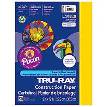 Tru-Ray; 50% Recycled Construction Paper, 9 inch; x 12 inch;, Yellow, Pack Of 50