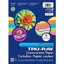 Tru-Ray; Construction Paper, 12 inch; x 18 inch;, 50% Recycled, Assorted Hot Colors, Pack Of 50