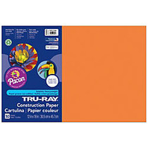 Tru-Ray; Construction Paper, 12 inch; x 18 inch;, 50% Recycled, Electric Orange, Pack Of 50