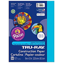 Tru-Ray; Construction Paper, 9 inch; x 12 inch;, 50% Recycled, Atomic Blue, Pack Of 50
