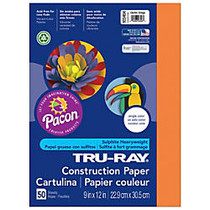 Tru-Ray; Construction Paper, 9 inch; x 12 inch;, 50% Recycled, Electric Orange, Pack Of 50