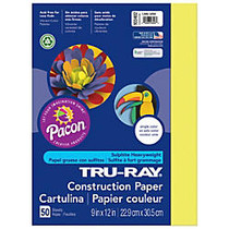 Tru-Ray; Construction Paper, 9 inch; x 12 inch;, 50% Recycled, Lively Lemon, Pack Of 50