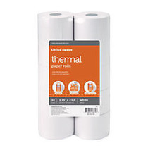 Office Wagon; Brand Adding Machine Thermal Paper Rolls, 1 3/4 inch; x 230', White, Pack Of 10 Rolls