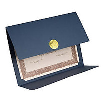 First Base Gold Medallion FSC Certified Linen Certificate Holders, 9 1/4 inch; x 12 1/2 inch;, 30% Recycled, Blue, Pack Of 5