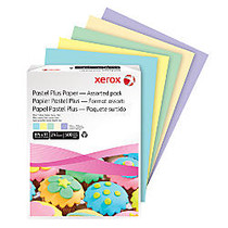 Xerox; Multipurpose Pastel Plus Paper, Letter Size Paper, 24 Lb, 30% Recycled, Assorted, Ream Of 500 Sheets