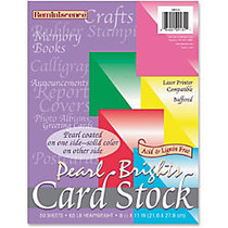 Pacon Reminiscence Card Stock - Letter - 8.50 inch; x 11 inch; - 65 lb Basis Weight - Pearl Brights - 1 Pack - Rojo Red, Hyper Pink, Lemon Yellow, Emerald Green, Cobalt Blue