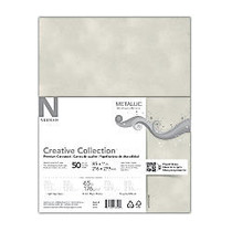 Neenah Metallics FSC Certified Paper, 8 1/2 inch; x 11 inch;, White Silver, Pack Of 50 Sheets
