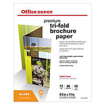 Office Wagon; Brand Double-Sided Presentation Paper, Glossy, Tri-Fold, 8 1/2 inch; x 11 inch;, 50 Lb, Pack Of 100 Sheets