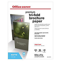 Office Wagon; Brand Double-Sided Presentation Paper, Matte, Tri-Fold, 8 1/2 inch; x 11 inch;, 45 Lb, Pack Of 100 Sheets