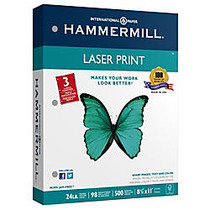 Hammermill; Laser Paper, 3-Hole Punched, 8 1/2 inch; x 11 inch;, 24 Lb, Pack Of 500 Sheets