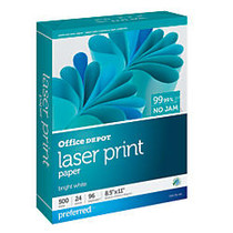 Office Wagon; Brand Laser Print Paper, 8 1/2 inch; x 11 inch;, 24 Lb, 30% Recycled, Ream Of 500 Sheets
