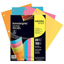 Wausau; Astrobrights; Filler Paper, 8 inch; x 10 1/2 inch;, Assorted Colors, Pack Of 100 Sheets