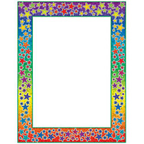 Scholastic Colorful Design Paper, Rainbow Stars, 8 1/2 inch; x 11 inch;, Pack Of 50