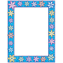 Scholastic Colorful Design Paper, Snowflakes, 8 1/2 inch; x 11 inch;, Pack Of 50