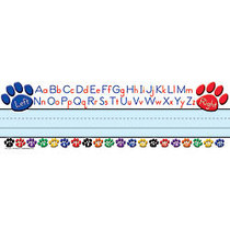 Teacher Created Resources Flat Name Plates, 3 1/2 inch; x 11 1/2 inch;, Colorful Paw Prints Left/Right Alphabet, 36 Plates Per Pack, Case Of 5 Packs